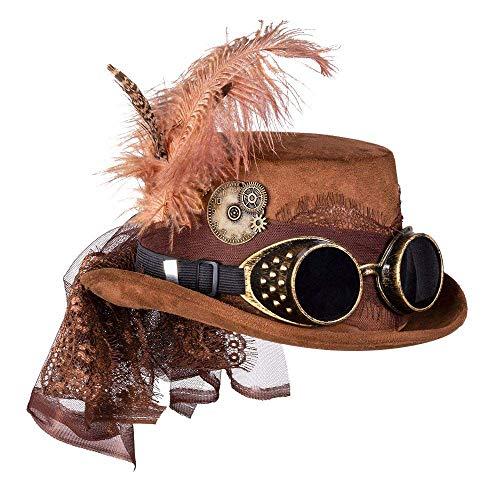Boland- Hat Party Glasses 54562 – Sombrero Specspunk Deluxe con Gafas, marrón,...