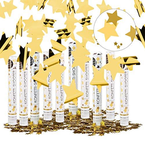 Relaxdays Pack de 10 Cañones Confeti para Lluvia de Estrellas en Bodas y Cumpleaños,...