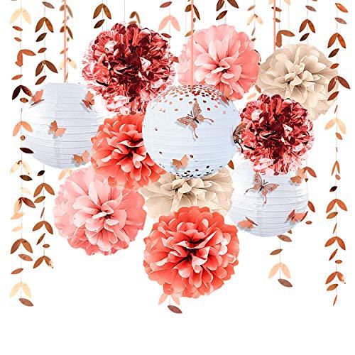 Decoración de fiesta de oro rosa farolillos de flores Pom Pom con pegatinas mariposa 3D...