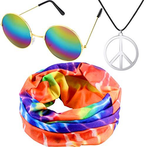 meekoo El Conjunto de Vestuario Hippie Incluye Diadema Hippie, Collar con el Signo de la...