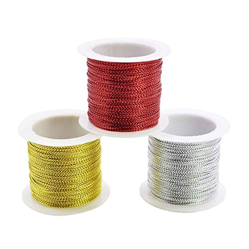 3 Piezas Cuerda metálica de 1 mm para joyería y manualidades, Línea Tejida,Bobina de...