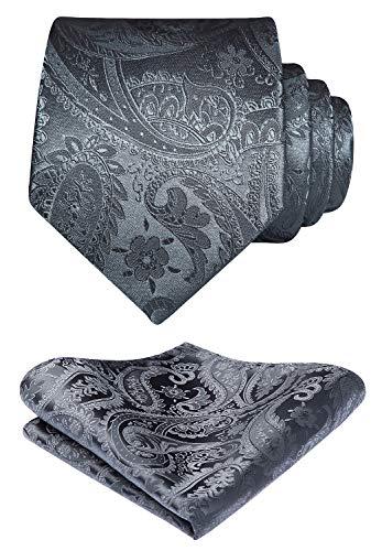 HISDERN hombres Solid Color Jacquard floral tejida corbata panuelo elegante corbata &...