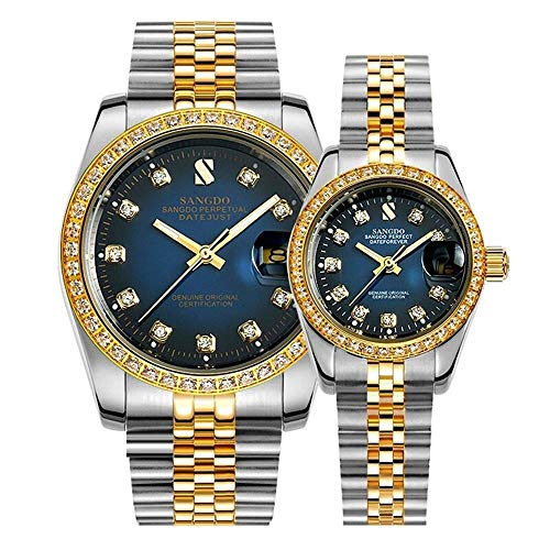 Relojes de Pareja Automático Mecánico Oro Plata Acero Inoxidable Diamante Relojes...