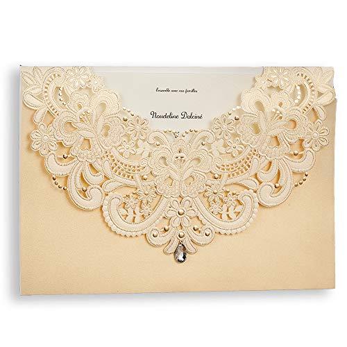 50pc Las invitaciones de boda WISHMADE, combinadas con sobres de RSVP y tarjetas de...