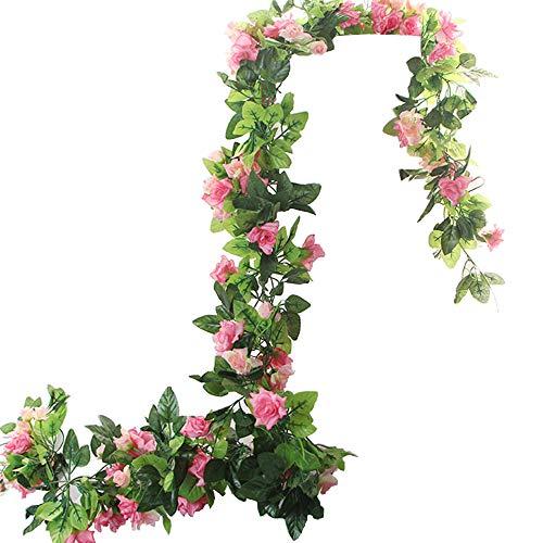 BlueXP 2 Pieza 230cm Guirnalda de Rosas Artificiales Falsas Seda Rosa Flor Vid de Hiedra...