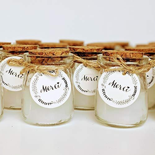 24 velas en un tarro de cristal, con etiqueta Merci, cordel y tapa de corcho, ideal como...