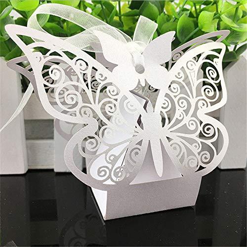 Unial - Caja de regalo con diseño de mariposa cortada a láser, 50 unidades, caja de...