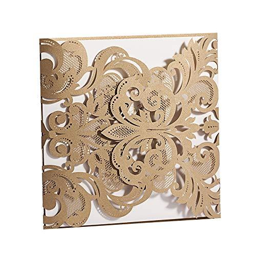50 WISHMADE Gold Square Laser Cut Wedding invita al kit con el sobre, tarjetas de...