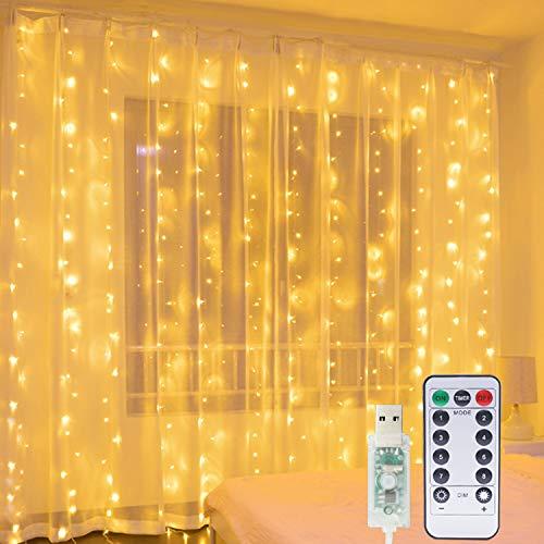 Cortina de Luces, Hepside Luz Cadena Luz de Cortina USB 3m x 3m 300 LED Luces de Navidad...