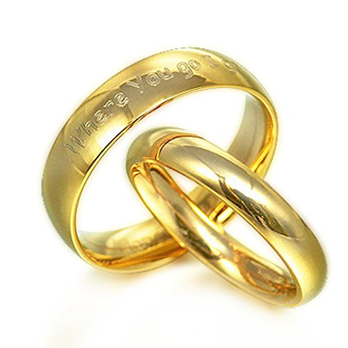 Anillo de oro Anillo de pareja (con grabado personalizable, de titanio)
