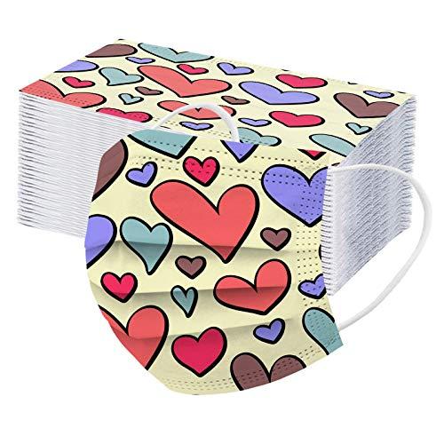 50piezas ma_scarilla con estampado de corazón de amor para adulto, Bajo techo, en...