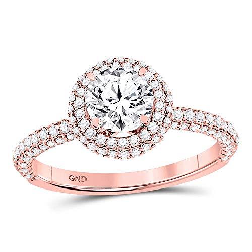 Anillo de compromiso de oro rosa de 14 quilates para mujer de Lux con diamante redondo...