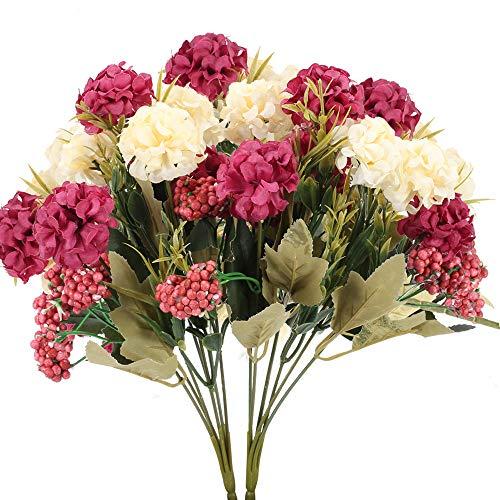 HUAESIN 2pcs Ramo de Flores Artificiales Hortensias 7 Cabezas Flores de Plastico Claveles...