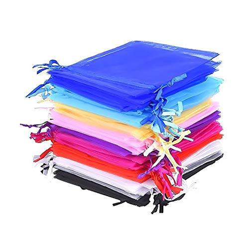 XCOZU Bolsas Regalo de Organza, 50 Unidades de 10 Colores Organza de Regalo Bolsas...
