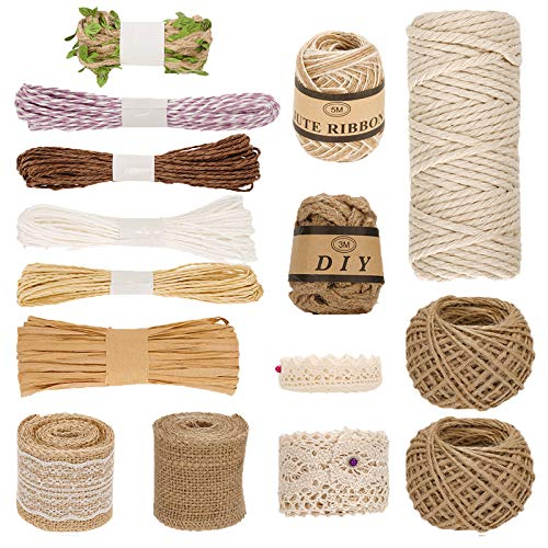 Ulikey 15 Pcs Cuerda de Yute Set, Natural Yute Twine, Bobina de cuerda de Cáñamo, Cuerda...