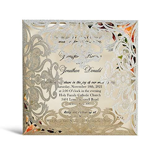 WISHMADE 20 tarjetas de invitaciones de boda con sobres de corte láser de plata con corte...