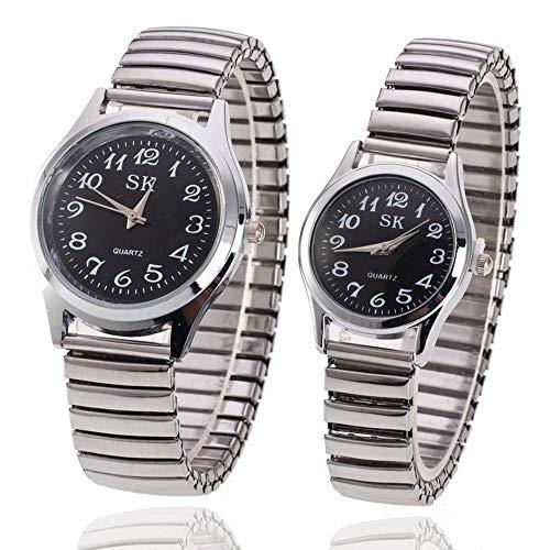Reloj de pulsera de acero inoxidable elástico,Relojes de cuarzo para hombres,mujeres,...