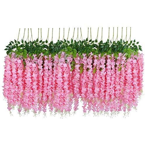 U'Artlines 24 Piezas/Orden 110cm por Vid Flores Artificiales Falsa Vid de Glicina Flor de...
