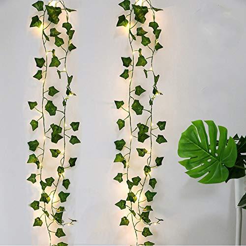 2 Piezas Hiedra Artificial, 2M Guirnalda Vines con 20 Luces LED, Planta Hojas de Vid...