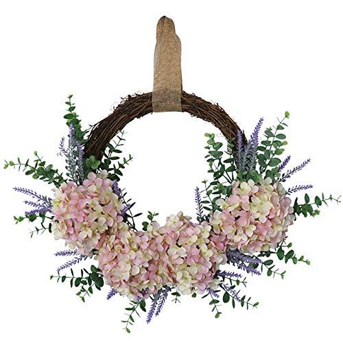 TREA2SURE Corona de hortensias de Yugali de 35 pulgadas, corona de primavera al aire libre...