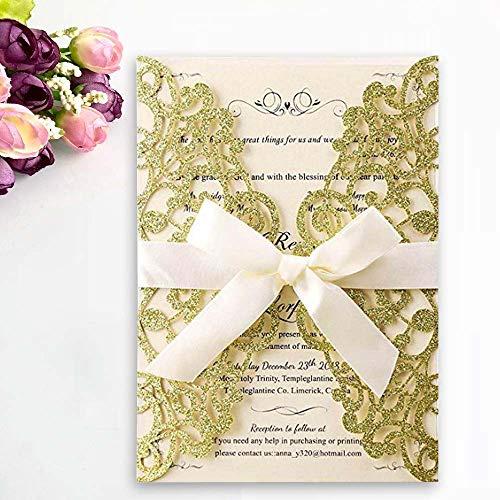JOFANZA Tarjetas de invitaciones de boda con corte láser de purpurina dorada con 50x...