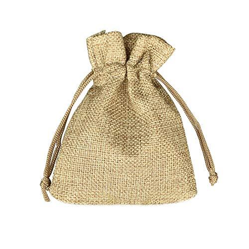 Fablcrew - Lote de 100 bolsas de yute con cordón de tela de yute para peladillas, joyas,...