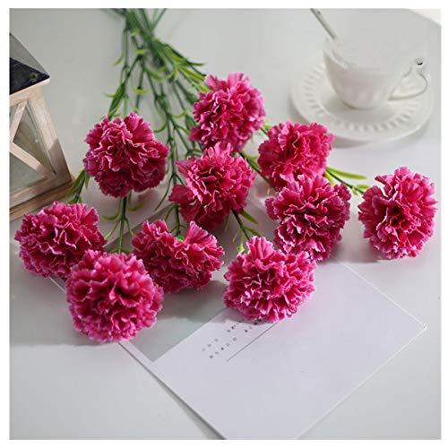 HETHYAN 10 PC/Falso de Seda Clavel Flores Artificiales Paquete Rosa Rojo Amarillo claveles...