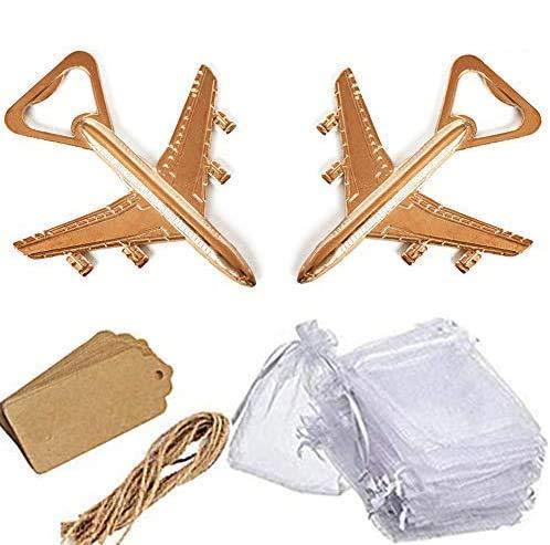 Amajoy Paquete de 25 abrebotellas de avión con bolsa de regalo transparente blanca Kraft...