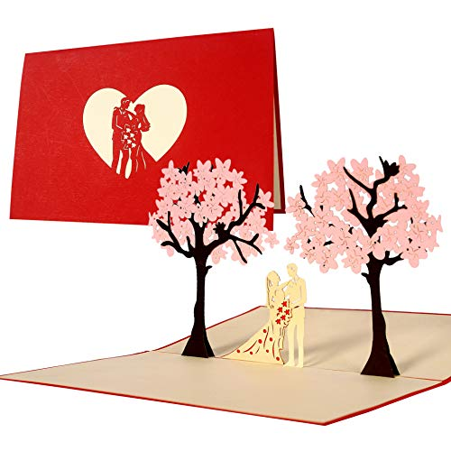 L10 Tarjeta de felicitación para bodas y parejas desplecable hecho a mano diseño en 3D,...