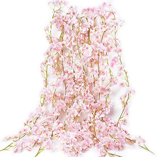 VINFUTUR 1.8m×5pcs Guirnalda de Flores Artificiales Cerezo, Guirnalda Flores Falsas...