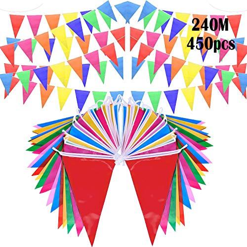 Comius Sharp 787 pies Banderines Banderín de bandera de cuerda, 450 piezas Banderas de...