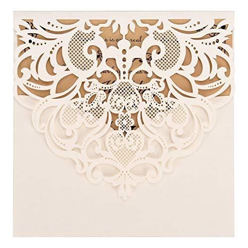FOMTOR - Paquete de 50 invitaciones de boda cortadas con láser, color blanco, paquete de...
