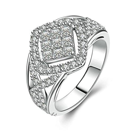 Adokiss Alianzas de plata 925, anillos de compromiso, halo, anillo blanco, redondo...