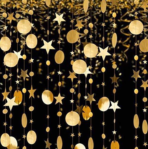 Dusenly Guirnalda de papel reflectante de 52 pies de estrella para decoración de boda,...