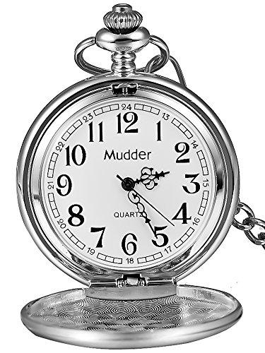 clásico Lisa Vintage Plata Acero Mens Pocket Watch