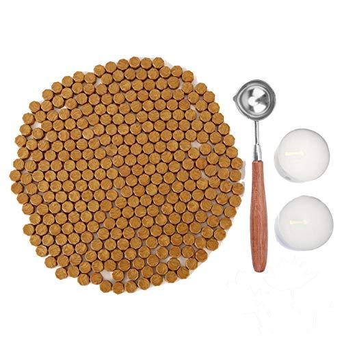 Kelzia Perlas de Cera de Sellado- Kit de Lacre de Sellado Octagonal con 2 Velas de Té + 1...