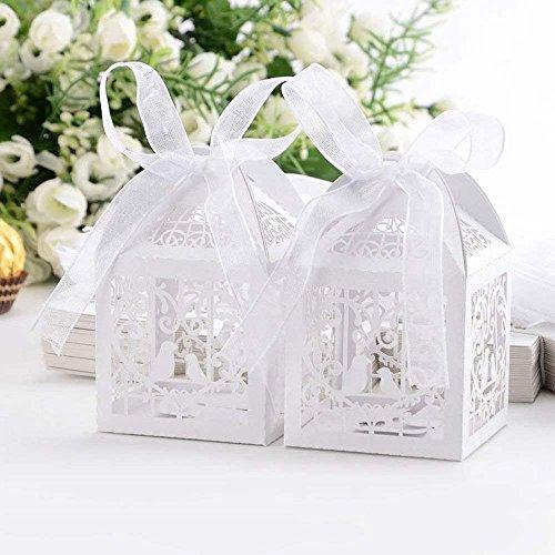 Coolmall - Cajas de regalo de boda con lazos, 50 unidades, cortadas con láser, color...