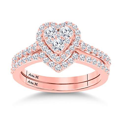 Diamond2Deal - Juego de alianzas de boda de oro rosa de 14 quilates, 1 cttw