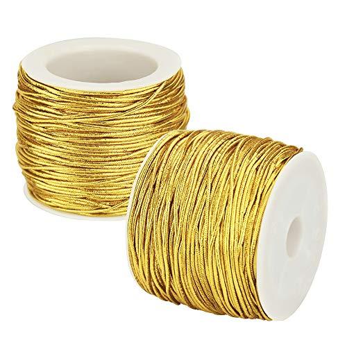 SNAGAROG 2 rollos de cordón elástico metálico de cordón elástico cinta de cordón de...