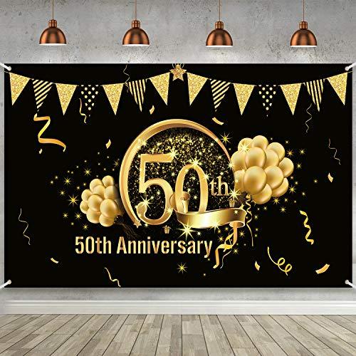 Decoración de Fiesta de Oro Negro de 50 Cumpleaños, Cartel de Oro Negro de Tela Extra...