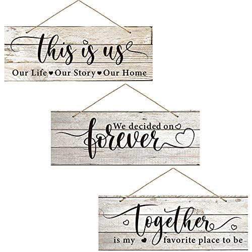 3 Letreros Colgante de Madera Rústicos con Tema de Amor Cartel de Together is My Favorite...