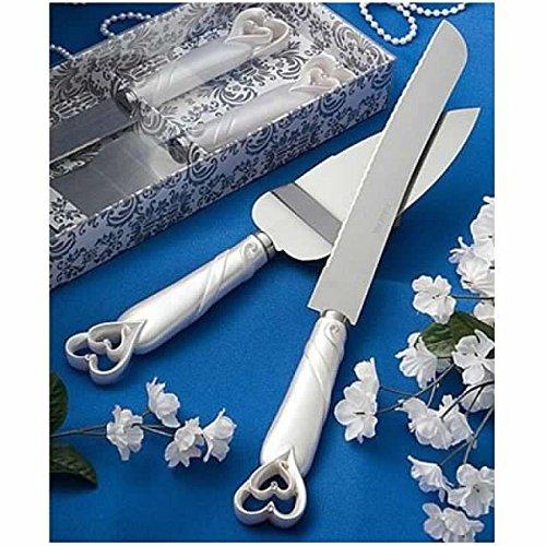 Juego de cuchillos y servilletas de resina para tartas de boda Double Hearts