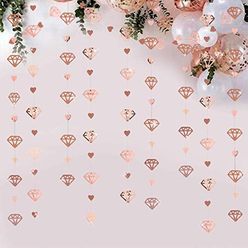 52 Ft - Guirnalda de papel metálico con forma de corazón con diamante de oro rosa para...