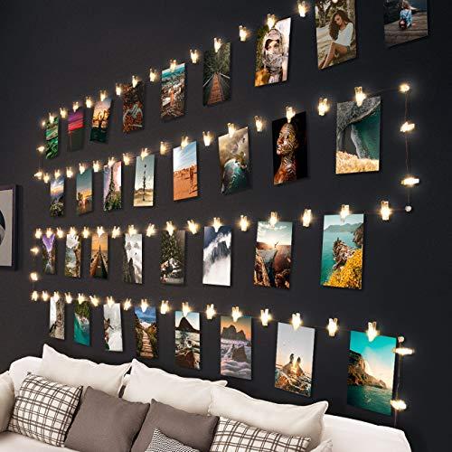 Clip Cadena de Luces LED, Litogo 10m 100 LED Foto Clips Guirnalda de Luces, 60 Pinzas para...
