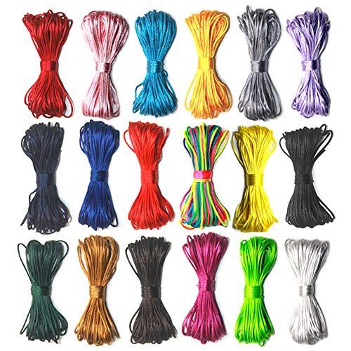 V-BEST 18 paquetes de cuerda de nailon, 1,5 mm de satén/cuerda de seda para collar y...