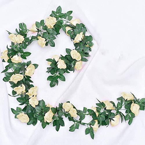 JOLIGAEA 2 Piezas de Rosas Artificiales, Guirnalda de Flores de Vid de Rosa Falsa de 220cm...