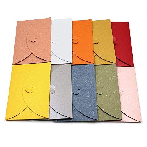 20 sobres para tarjetas de papel kraft de colores con cierre en forma de corazón, 20pcs