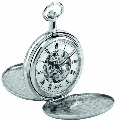 Woodford 1062 - Reloj de Bolsillo para Hombre con Acabado en Cromo, Dos Tapas y Cadena (se...
