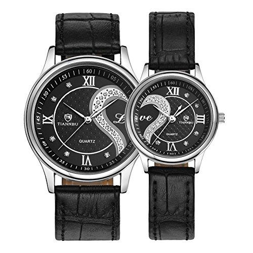 Conjunto de relojes de pulsera románticos para parejas, con adorno de corazones y correa...