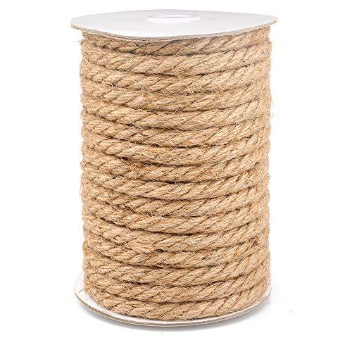 15M Cuerda de Yute Gruesa Cuerda cáñamo 10mm,Natural Rollo de Cordel Yute para...